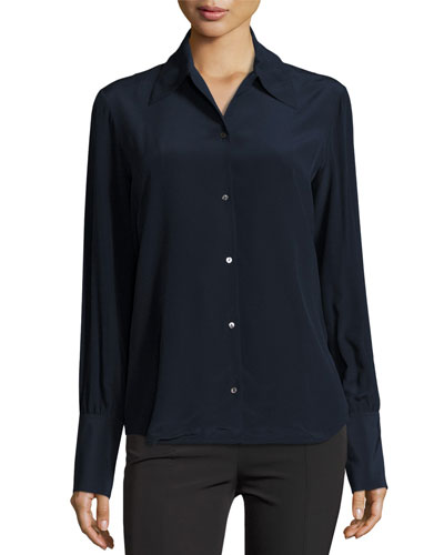 Suz Classic Button-Front Blouse, Navy