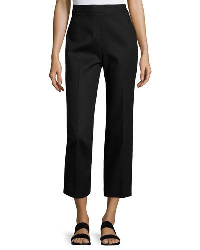 Seloc Straight-Leg Cropped Pants, Black