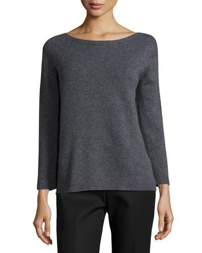 Juliette Bracelet-Sleeve Cashmere Sweater, Dark Gray