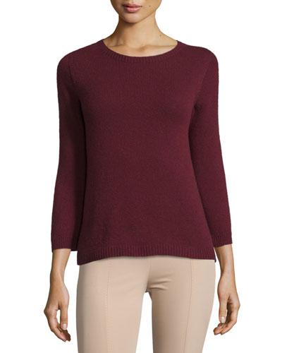 Juliette 3/4-Sleeve Cashmere Sweater, Dark Brick