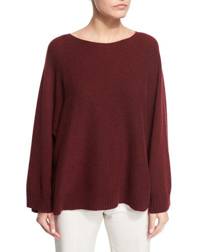 Minola Cashmere Trapeze Sweater, New Brick