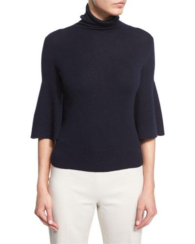 Adara Half-Sleeve Turtleneck Sweater, Dark Navy