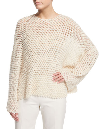 Velenda Hand-Knit Cashmere/Silk Sweater, Antique Ivory