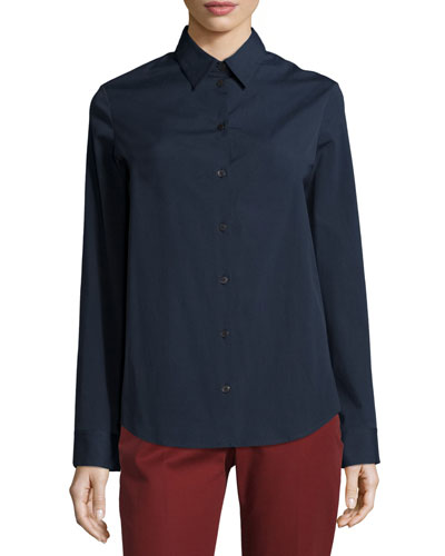 Peter Classic Button-Front Blouse, Dark Navy