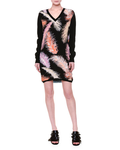 Long-Sleeve Feather-Print Sheath Dress, Black/Multi