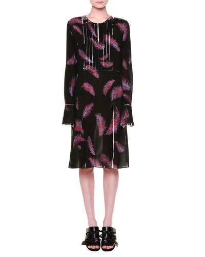 Long-Sleeve Feather-Print Dress, Black/Red