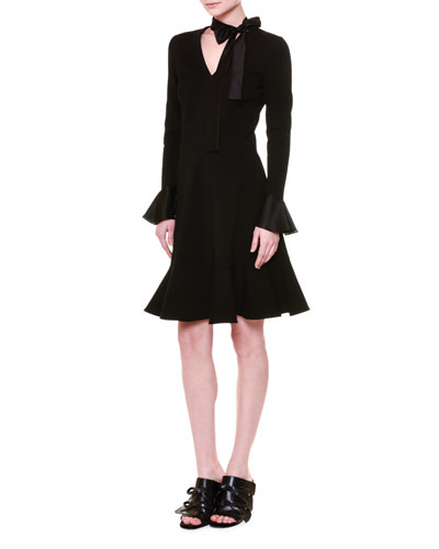 Tie-Neck Fit-&-Flare Dress, Black