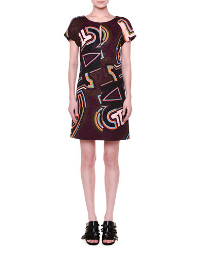 Short-Sleeve Round-Neck Shift Dress, Plum/Multi