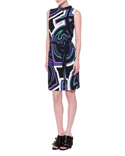 Sleeveless Belted Monogram-Print Dress, Navy/Purple