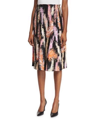 Pleated Feather-Print Skirt, Black/Orange