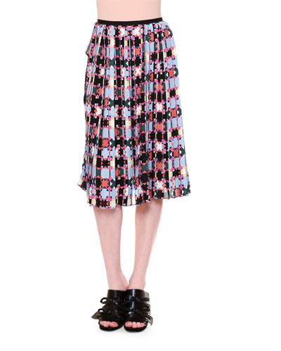 Monreale Pleated A-Line Skirt, Multi Colors