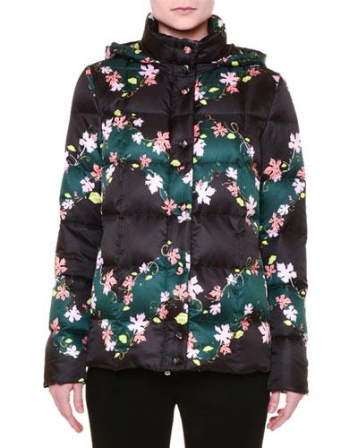 Leaf-Print Hooded Puffer Jacket, Black/Pink
