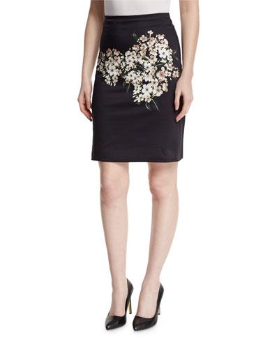 Jasmine-Print Pencil Skirt, Jasmine