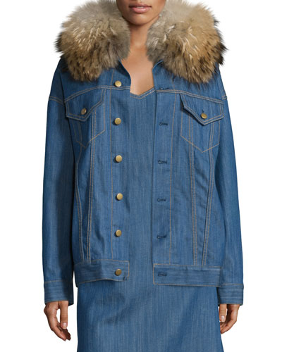 Fur-Collar Button-Front Denim Jacket, Blue Indigo