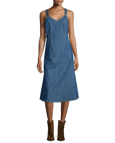 V-Neck Denim Tank Dress, Blue Indigo