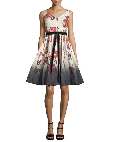Sleeveless Floral-Print Fit & Flare Dress, Cream