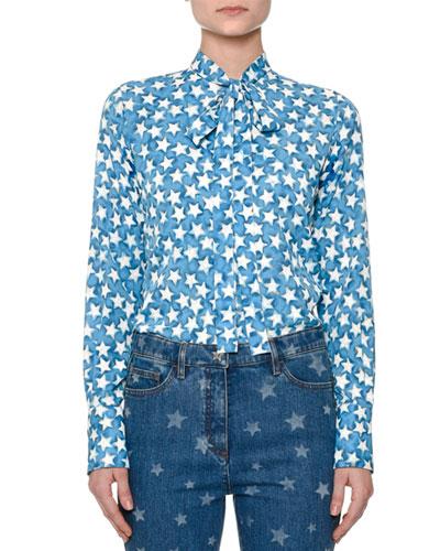 Star-Print Tie-Neck Blouse, Blue/Multi