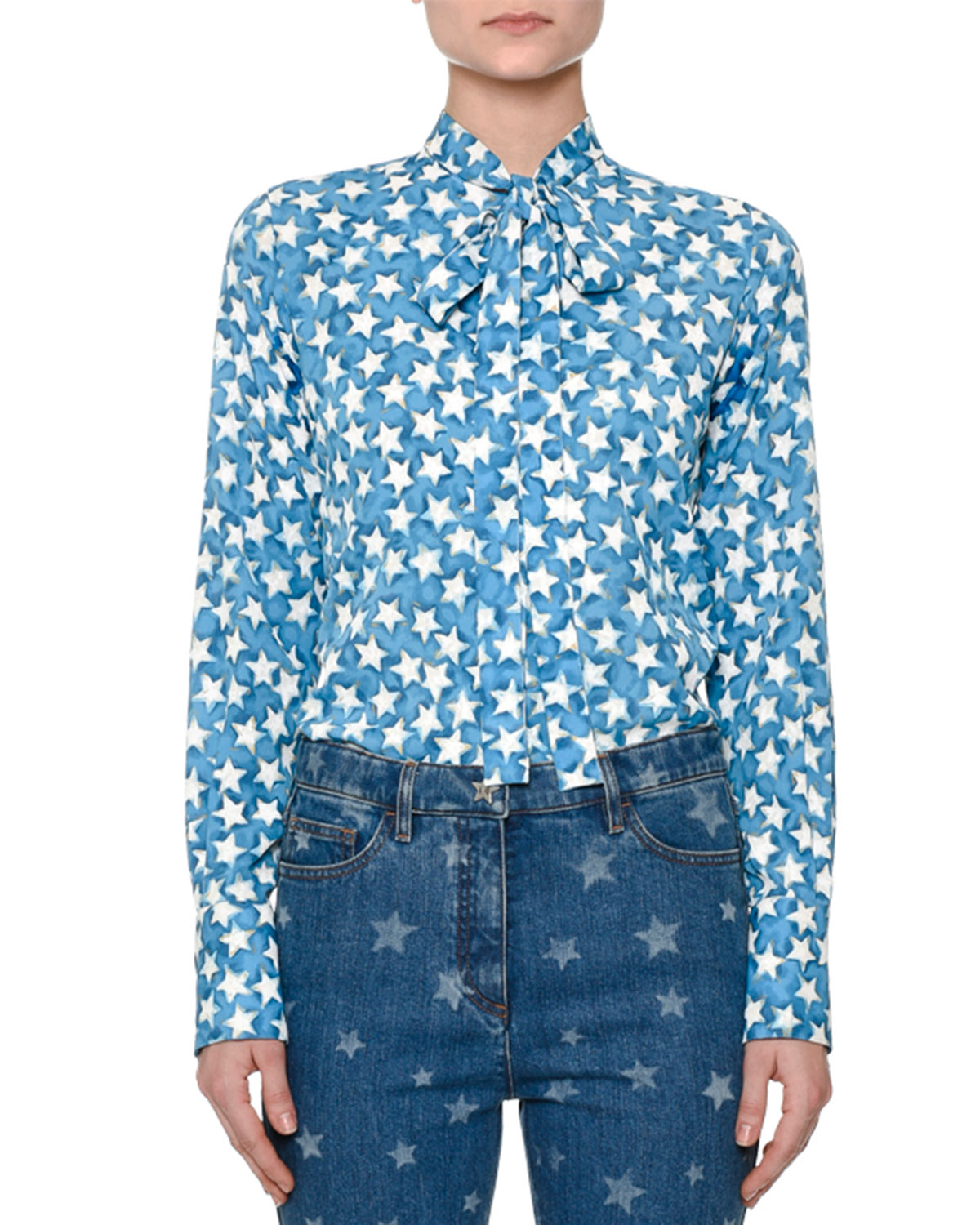 Star-Print Tie-Neck Blouse, Blue/Multi