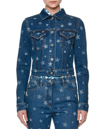 Laser Star-Print Cropped Jean Jacket, Light Blue Denim