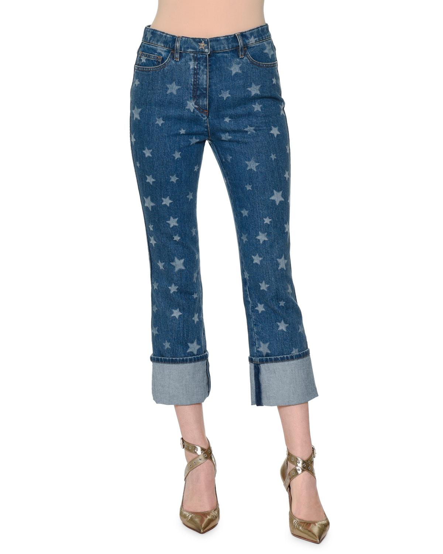 Star-Print Deep-Cuff Cropped Jeans, Light Blue Denim