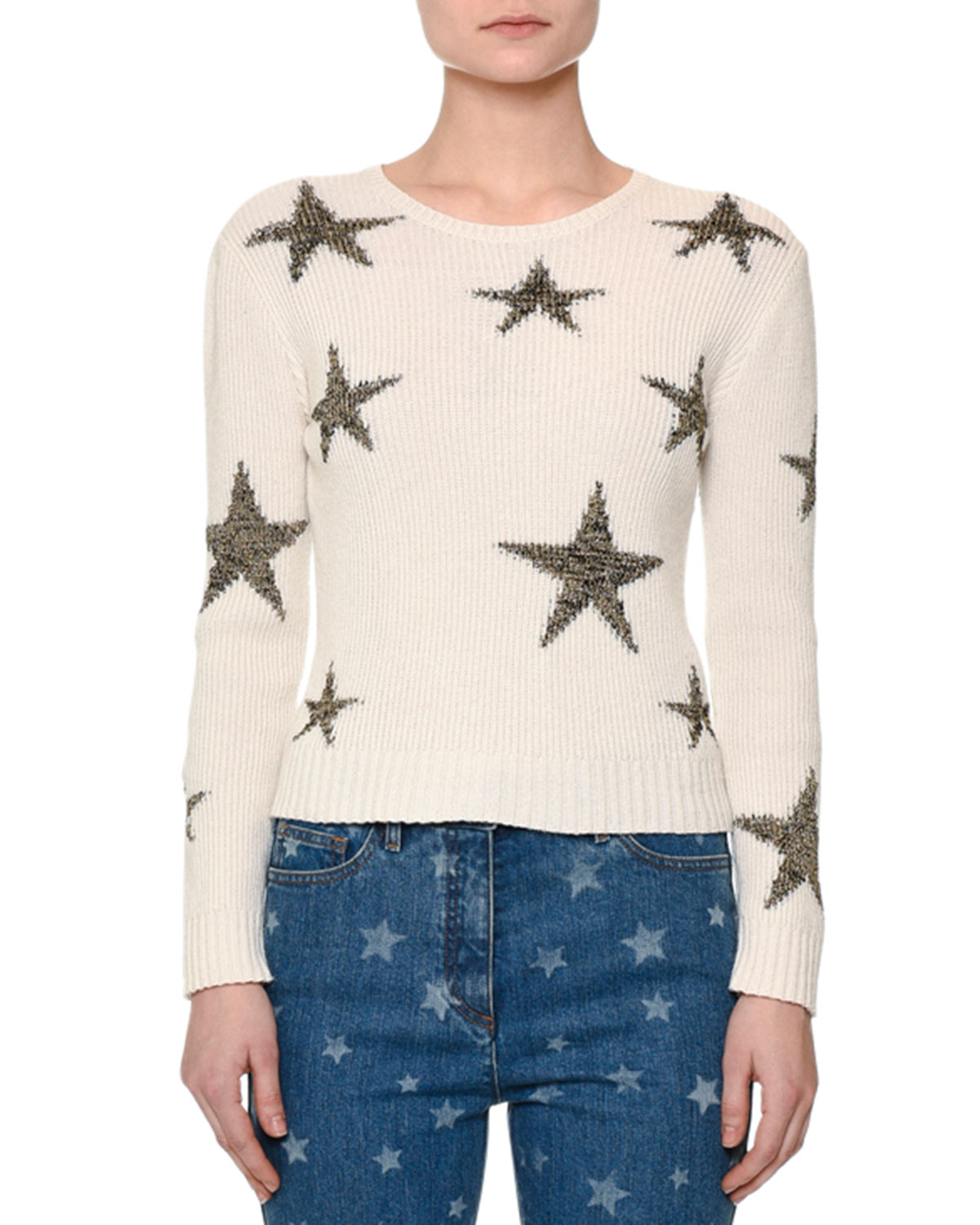 Star-Intarsia Cropped Sweater, Off White