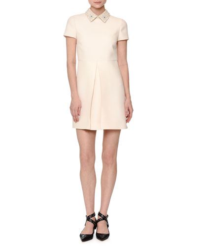 Short-Sleeve Pleated-Front Mini Dress, Off White