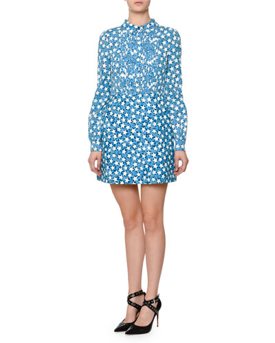 Long-Sleeve Star-Print Shirtdress, Blue/Multi