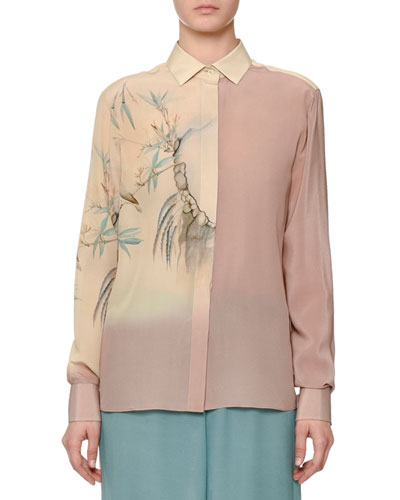 Long-Sleeve Degrade Bird-Print Blouse, Cipria/Pale Pink