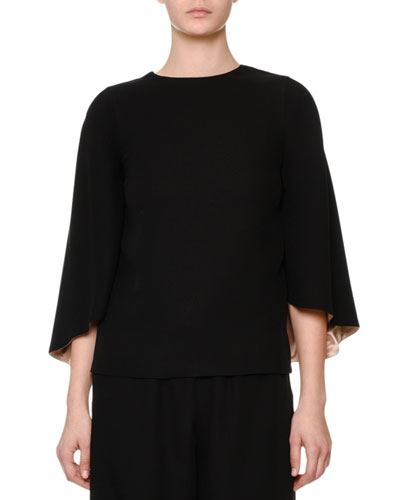 3/4-Sleeve Cape-Style Top, Black/Nude