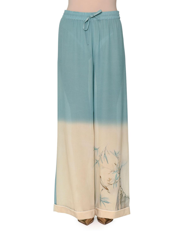 Degrade Printed Wide-Leg Pants, Celeste Light Blue