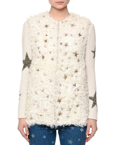 Shearling Fur Vest w/Star Embellishments, Natural