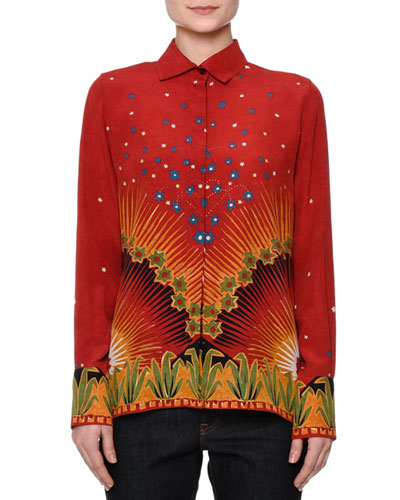 Long-Sleeve Mixed-Print Shirt, Red/Multi