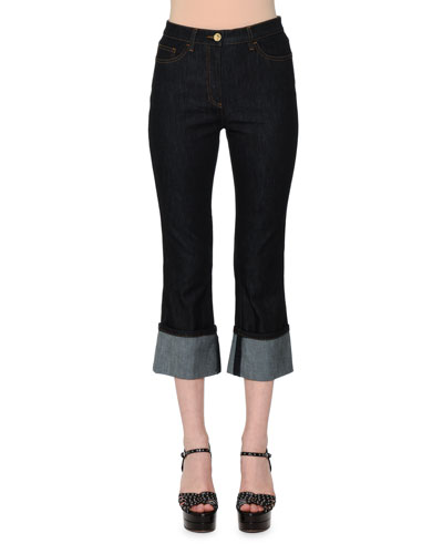 High-Waist Deep-Cuff Cropped Jeans, Dark Blue