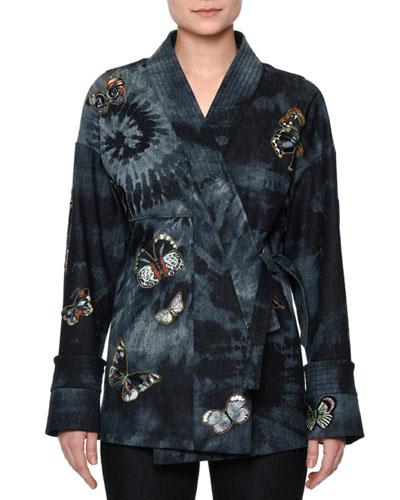Butterfly-Embellished Tie-Dye Wrap Jacket, Indigo