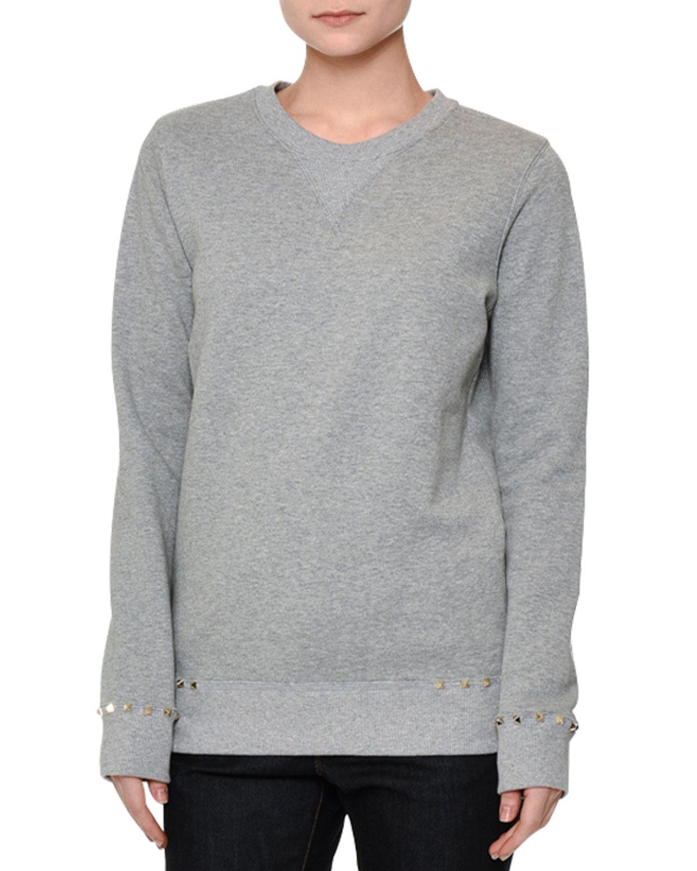 Long-Sleeve Rockstud-Trim Sweatshirt, Gray Melange