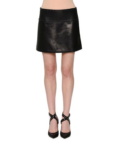 Embellished Leather Mini Skirt, Black