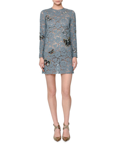 Butterfly-Embellished Lace Mini Dress, Pale Blue