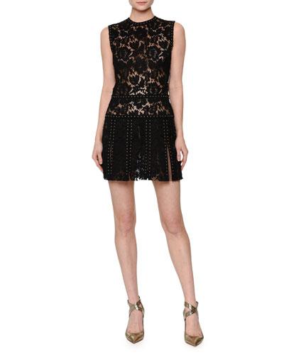 Sleeveless Embellished Lace Mini Dress, Black