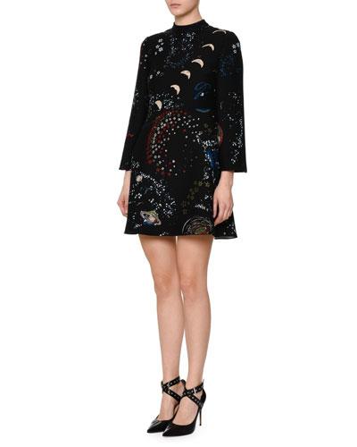 3/4-Sleeve Astro-Print Shift Dress, Black