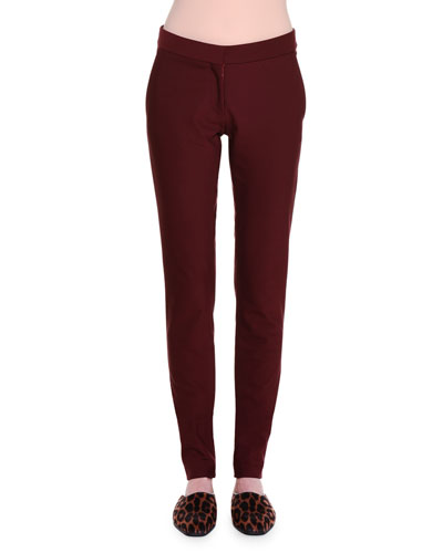 Ivy Flat-Front Leggings, Berry