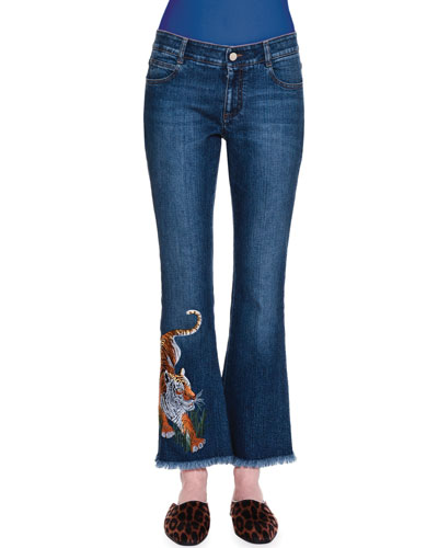 Tiger-Embroidered Flare-Leg Cropped Jeans, Dark Blue