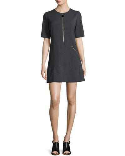 Short-Sleeve Zipper Mini Dress, Granite