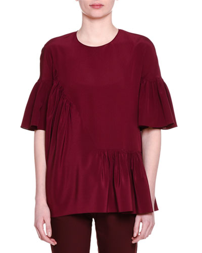 Short-Sleeve Gathered-Ruffle Top, Jazzberry
