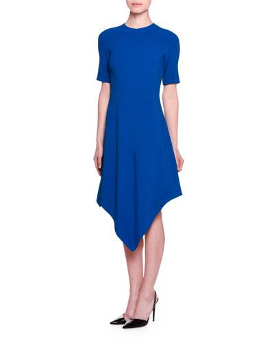 Short-Sleeve Handkerchief-Hem Dress, Capri Blue