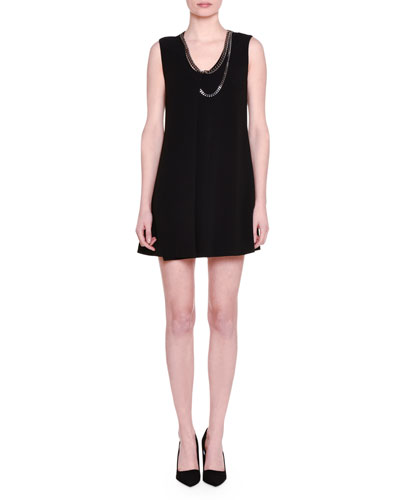 Falabella-Trim Sleeveless Tunic Dress, Black