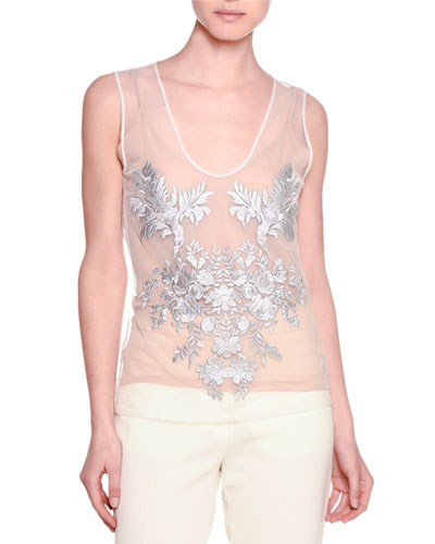 Sleeveless Floral-Embroidered Top, Natural