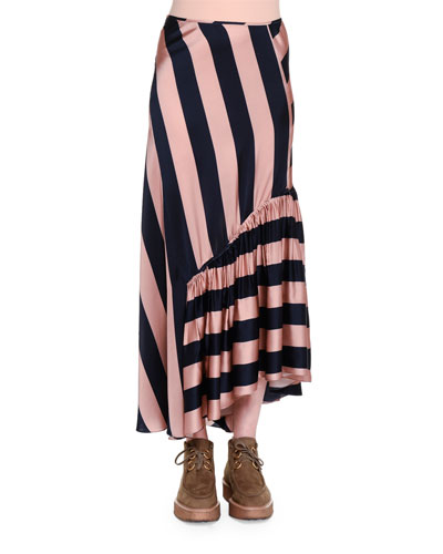 Gathered-Ruffle Wide-Striped Maxi Skirt, Pecan/Ink