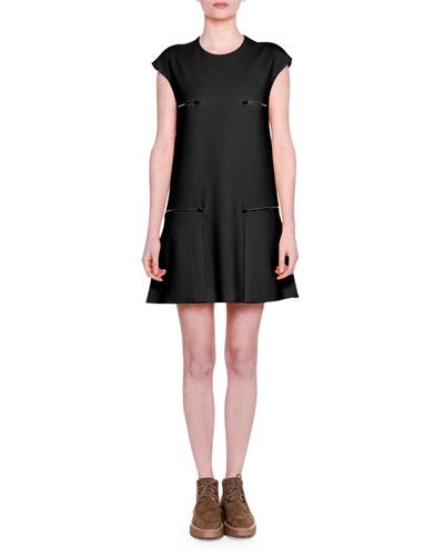 Cap-Sleeve Zip-Detail Shift Dress, Black
