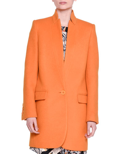 Bryce Single-Button Melton Coat, Mandarin