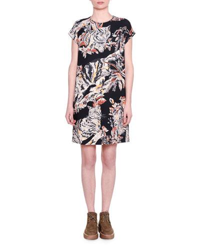 Cap-Sleeve Cat-Print Shift Dress, Black